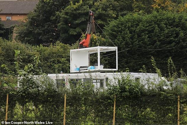 Marquee: A large marquee was seen being constructed and then lowered onto the site of the derelict castle as preparations continued for the first ever UK series of the ITV show