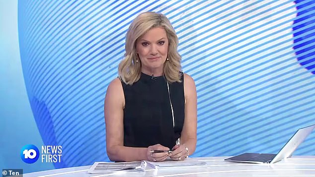 Emotional:Tearful Sandra Scully (pictured) paid an emotional tribute to weatherman Tim Bailey as he watched from home earlier this month