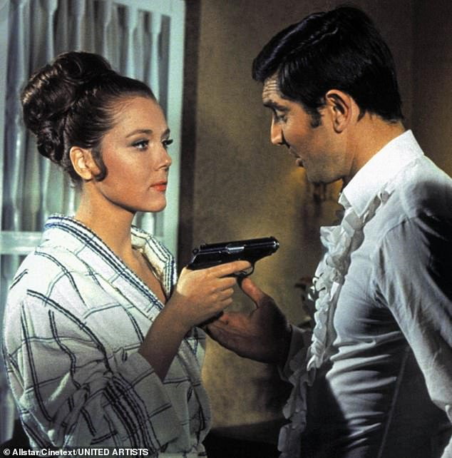 Rigg and her co starGeorge Lazenby in the 1969 James Bond movie, On Her Majesty's Secret Service