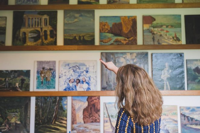 Paintings by Churchill which have been redisplayed in his studio as part of the project. The charity curated 141 paintings and used historic photographs to create a studio similar to that of the former Prime Minister's in the early 1960s