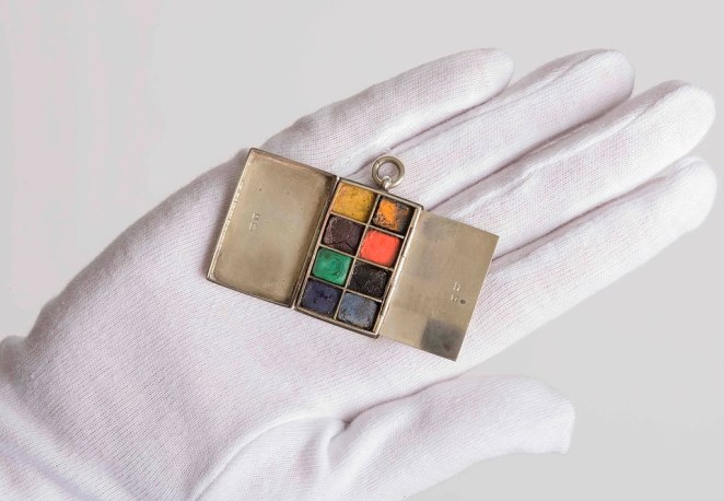 A silver miniature paint box used by Churchill, which was one of the objects acquired as part of the project to conserve hundreds of items once owned by him. One of the former Prime Minister's great passions was painting