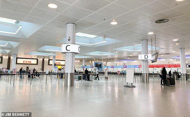 Analysis by the aviation union Unite predicts more than 6,000 people based at the airport - employed directly by the airport, airlines, or in supply chains - have already lost their jobs or are at risk of redundancy since the beginning of the pandemic. Pictured, the quiet departures area at Gatwick
