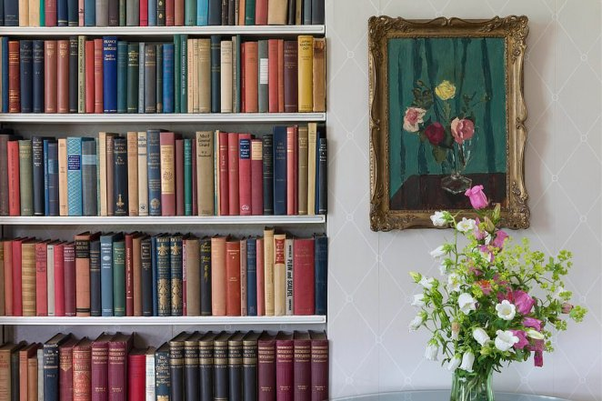 Churchill's collection of inscribed books in the drawing room at Chartwell, which have been researched and fully catalogues for the first time as part of the project. The work led to a transformation in the presentation of his family home in Kent