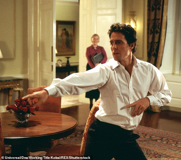 Shake it: Elizabeth Hurley shared a hilarious throwback video on Friday of her ex Hugh Grant busting out some moves in the film Love Actually as she congratulated him on turning 60