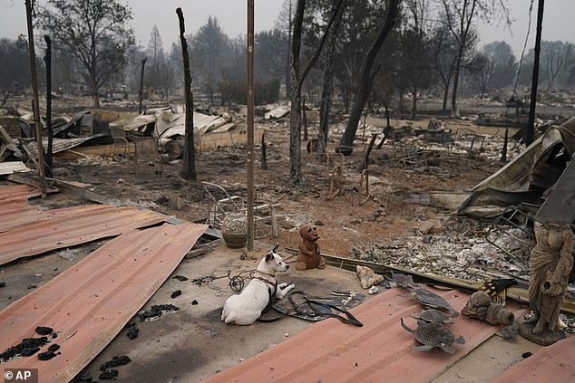 Homes are reduced to rubble in Talent after the fire ripped through neighborhoods. Oregon officials denied reports spreading on social media that fires have been deliberately started by far-left group Antifa and far-right group Proud Boys