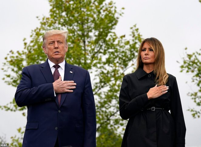 U.S. President Donald Trump and first lady Melania Trump stood together during a ceremony at the Flight 93 National Memorial, remembering those killed when the hijacked flight crashed into an open field on September 11, 2001