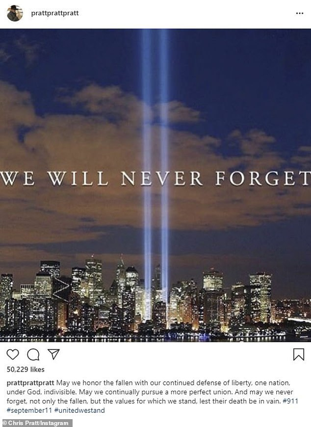'We will never forget': Chris Pratt was one of many stars that commemorated 9/11 on Friday, the 19th anniversary of the attacks