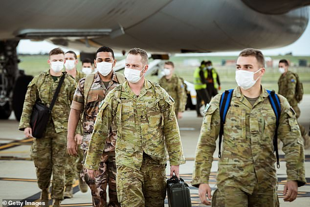 The DHHS revealed Australian Defence Force troops (pictured in Avalon on Friday) were not used in hotel quarantine hotels as it would have been 'daunting' for travellers