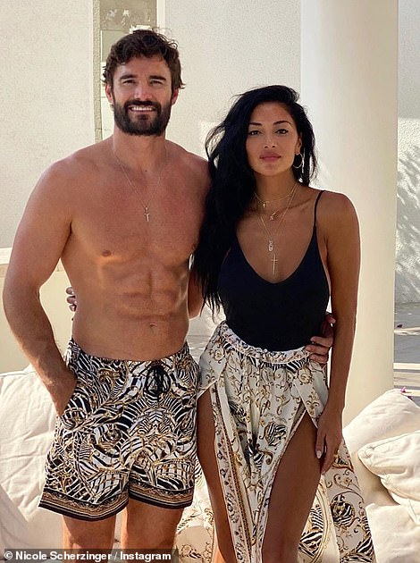 Now: Nicole is now in a relationship with rugby hunk Thom Evans (right) after meeting on Celebrity X Factor last year
