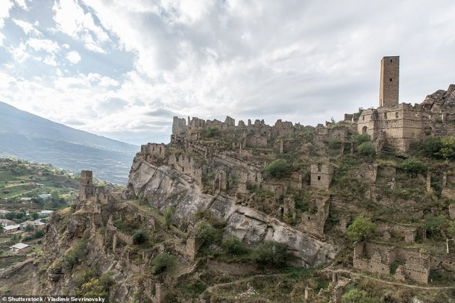 The abandoned village of Kakhib (pictured) is located around a two-hour drive from Gamsutl
