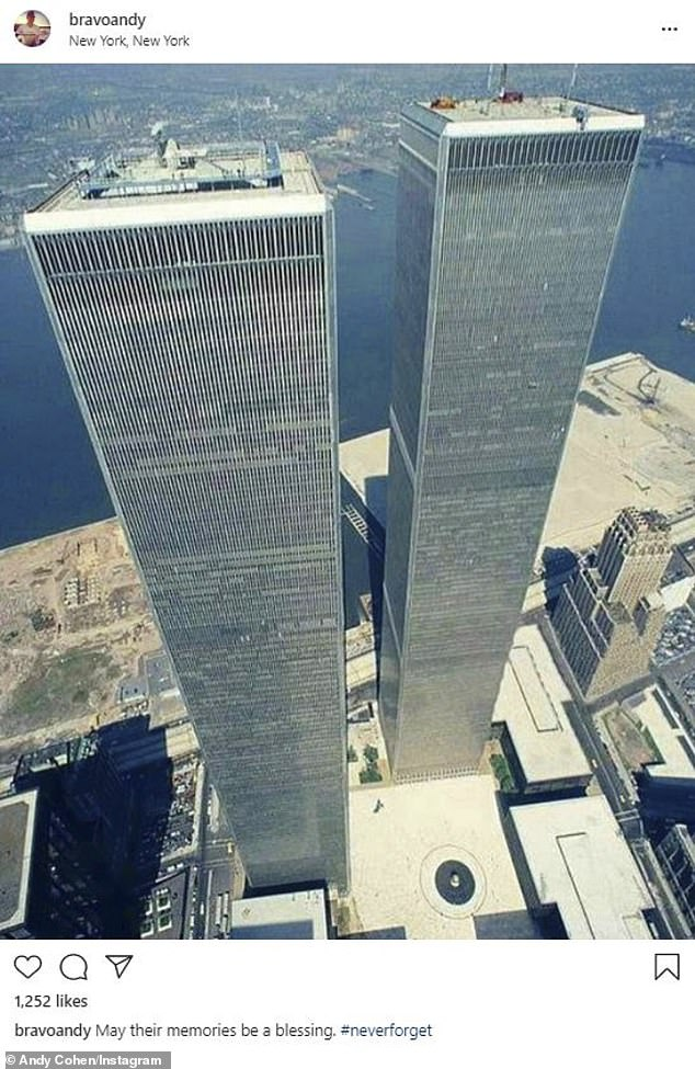19 years: Bravo host Andy Cohen also shared a snap of the towers as they stood prior to the attacks