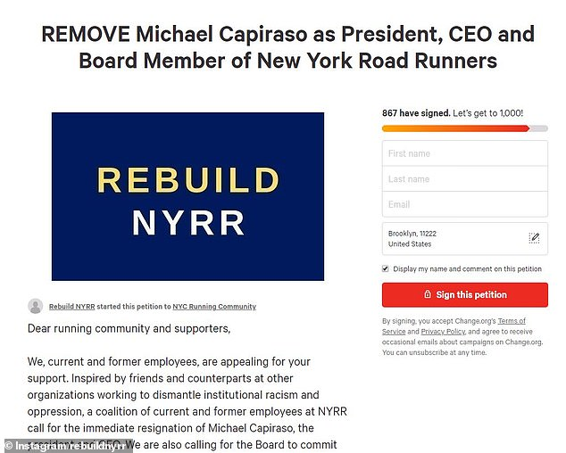 The appeal's emergence comes just weeks after NYRR announced it would be laying off around 11 percent of its workforce and furloughing another 28 percent of staff, because of hardships brought by the on-going coronavirus pandemic