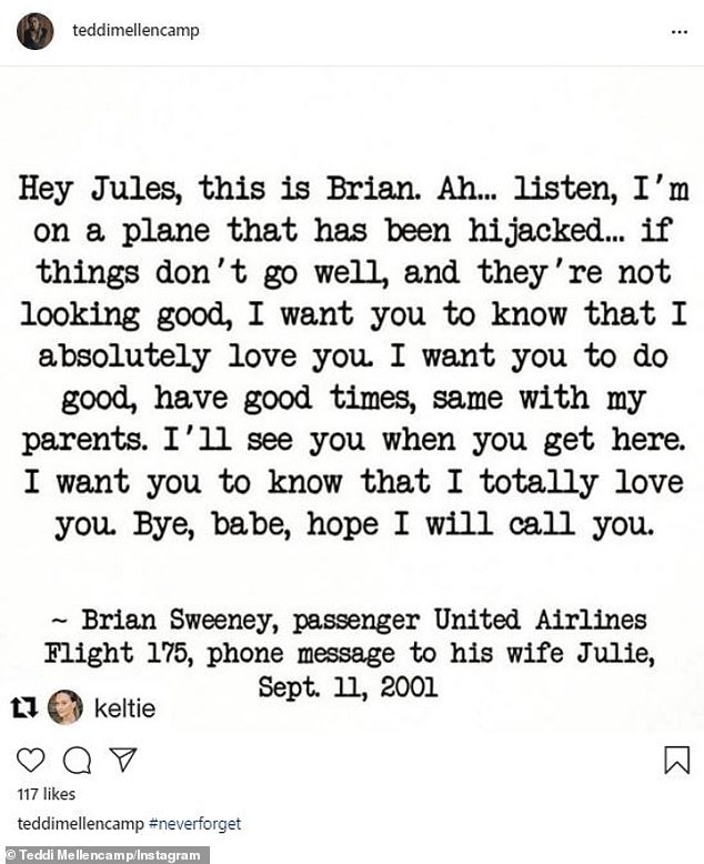 Poignant: Reality star Teddi Mellencamp posted a transcript from the phone call from victim Brian Sweeney to his wife before the plane he was in hit the south tower of the WTC