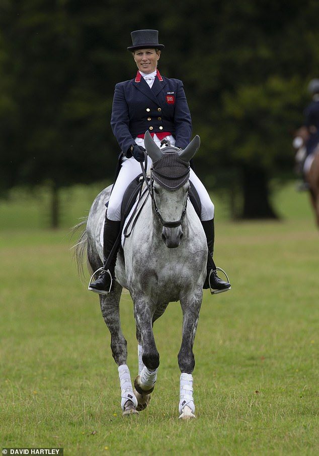 Zara Tindall looked the picture of a proud equestrian today as she rode her new horse Happenstance at the Cornbury International Horse trials in Oxfordshire