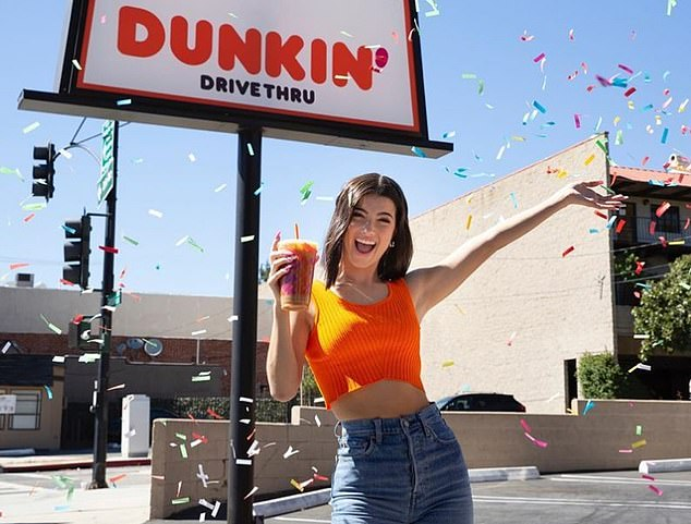 Budding businesswoman: The teen has secured several lucrative partnerships thanks to her success on TikTok, and even had a drink named after her by Dunkin Donuts earlier this month