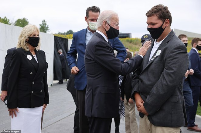 Biden spoke with Flight 93 victim Loraine Bay's family at the memorial. Earlier in the day the Bidens attended a remembrance ceremony at the September 11 National Memorial in New York City