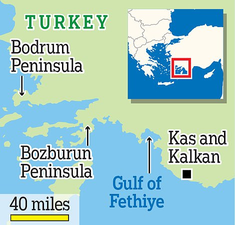 A map showing some of Turkey's main holiday regions
