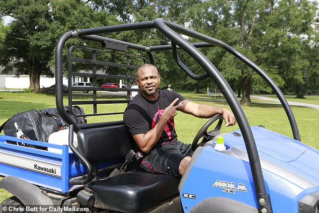 Jones spoke to DailyMailTV from his huge boxing gym on his sprawling ranch in Pensacola, Florida, where he raises chickens, ducks, turkeys, peacocks and sheep