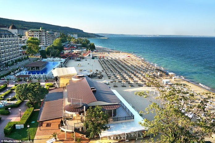 Bulgaria is not on the UK's travel corridor list. Pictured is the Bulgarian beach resort of Sunny Beach