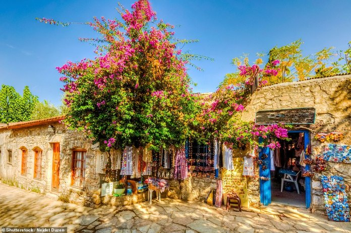 In Datca, pictured, the lanes are home to shops overflowing with almonds, olive oils, soaps, honey and wines