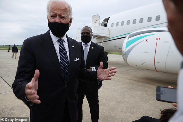 President Donald Trump again lodged allegations against Joe Biden, without evidence, that: 'It is probably, possibly drugs involved'. Biden is pictured on Friday in Delaware