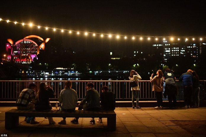 The latest measure introduced to tackle the spread of coronavirus comes as a Government-led study today suggested the reproduction 'R' rate could be as high as 1.7 in the UK. Pictured: Southbank tonight