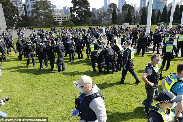 Police clashed with thousands of protesters at the Shrine of Remembrance last Saturday