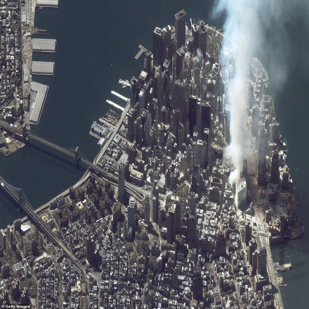 Maxar's Iconos satellite shattered an image of ground zero on the same day as Landsat, but with its high-resolution capabilities, the image shows a complex description of the financial district