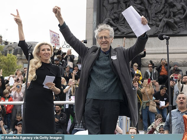 Miss Shemirani, with Piers Corbyn at the anti-vaxx protest in Trafalgar Square two week ago.She also claimed to have first-hand accounts of patients being taken to hospital during the coronavirus pandemic who were deliberately allowed to die