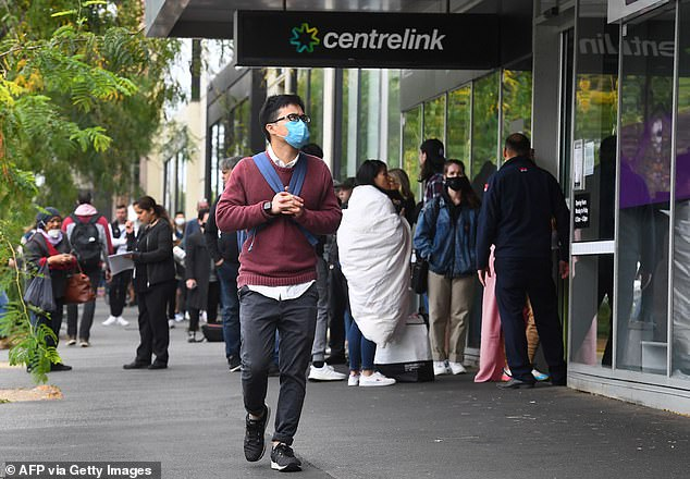 A line outside of CentreLink in Melbourne. Nationally, more than 1.6 million people were on JobSeeker payments or youth allowance in June
