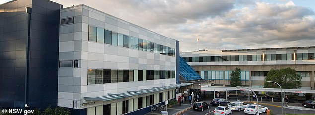 The patient was receiving treatment when he punched a security guard, a 40-year-old man, at Westmead hospital (pictured) in Sydney's west at 5am on Friday