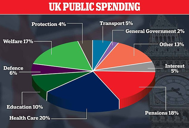A pie chart shows how some 20 per cent of UK public spending is on health care, with the government wanting to spend a similar amount on the Moonshot project