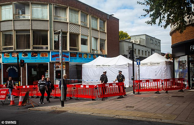 Police erected Special Operations Tents in Mary Arches Street, Exeter, Devon, on Thursday as they launched a murder investigation