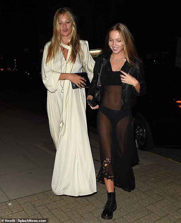 Party time: Kate Moss, 46, put on a stylish display as she left Kim Jones' birthday celebration with her daughter Lila, 17, at London's Laylow restaurant on Friday