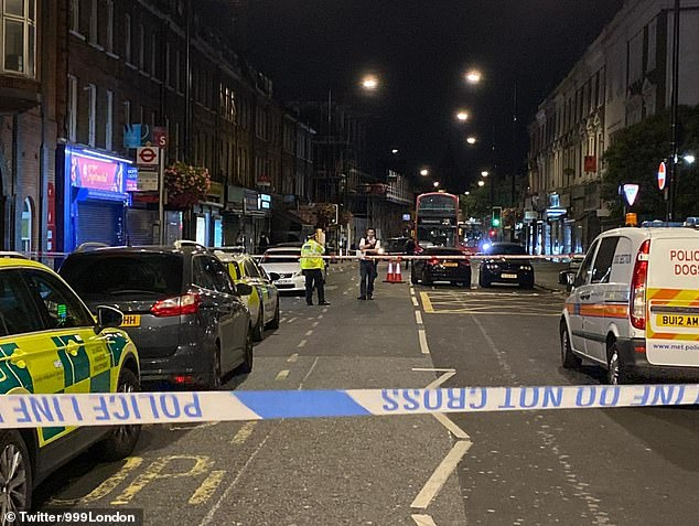 A crime scene was set up late last night on Harrow Road near the junction with Ashmore Road
