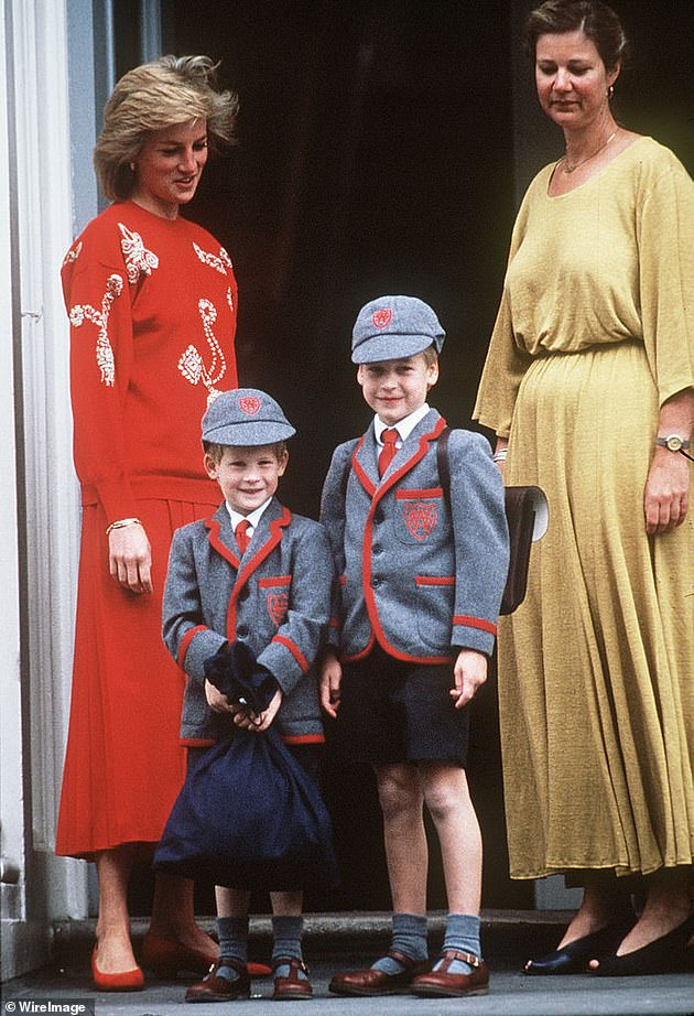 It comes after the Duke of Sussex and Duke of Cambridge announced a statue is to be installed in the Sunken Garden of Kensington Palace to mark what would have been her 60th birthday (Princess Diana with her sons Prince William and Prince Harry at Wetherby School on September 12, 1989 in London)