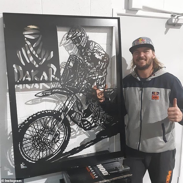 Price (pictured) said he still struggled with the horrific experience and it made him question whether he should continue competing. He is about to start training for the 2021 Dakar Rally