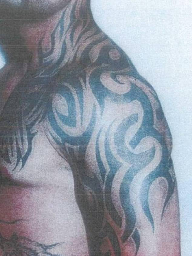 Pictured: Hawi's torso. These primitive tribal curves were made popular by George Clooney in the 1996 vampire film From Dusk Till Dawn. 'Everyone was getting them' said one tattoo artist