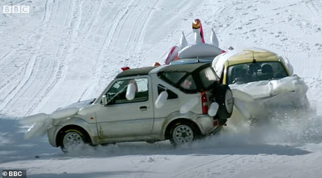 A new form of skiing!:Elsewhere in the trailer, the presenters zoom down ski slopes in Cyprus with ¿30 holiday hire cars