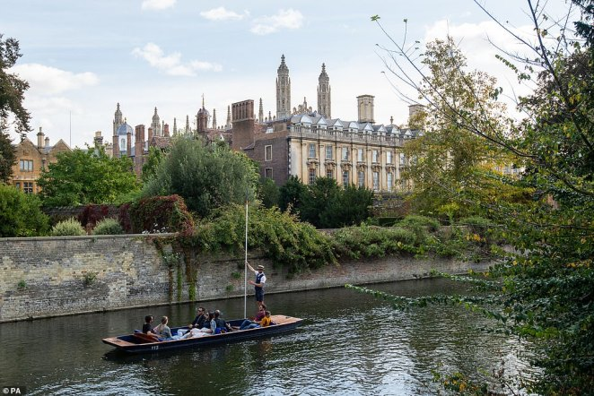 After a sunny Saturday across the nation, the evening will bring the wet weather to parts of western and north western Scotland 'for what looks like at least 24 hours'. Pictured: Cambridge