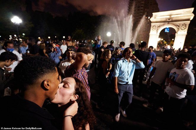 Photos and video obtained by DailyMail.com show throngs of hundreds dancing, singing and twerking in Washington Square Park on Friday night, just a week after a similar gathering drew condemnation from the governor
