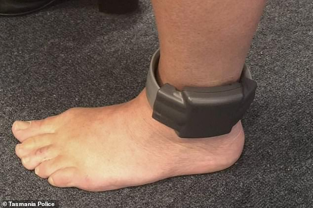 A 33-year-old woman who recently returned to Perth from NSW has been fitted with an electronic ankle tracking device (pictured) after being ordered to self-isolate and then caught at home with two visitors