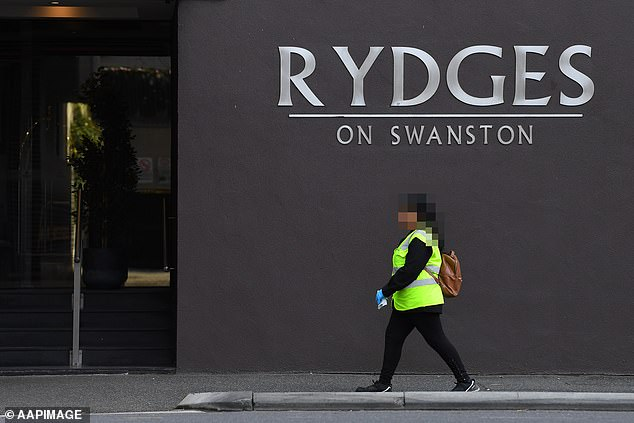 A Department of Health and Human Services (DHHS) report tendered to Victoria's Hotel Quarantine Inquiry has linked a case associated with Embracia Aged Care facility genomically to the Rydges hotel on Swanston St. Pictured: Rydges on July 14