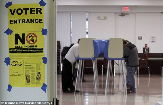 Voters are seen in Cary, North Carolina in 2012. Election officials advise people against heading to the polls to check on their mail-in ballots