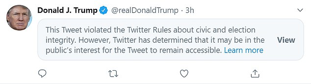 This is how the tweet appeared on Trump's timeline with the warning message on it
