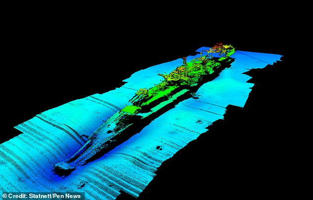 For 80 years the location of the wreck remained a mystery - until now. It was found off the coast of Norway by a Norwegian power company, Statnett. Pictured: a scan of the wreck