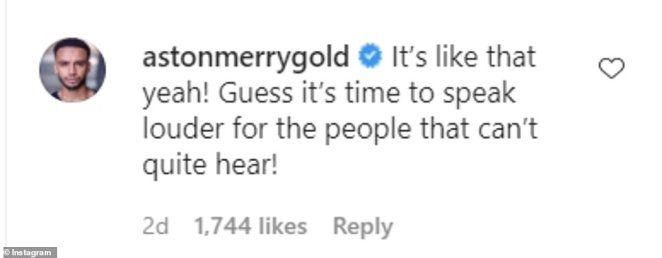 Encouragement: Alesha wasn't the only celebrity to throw her support behind Ashley, as Amanda Holden, Ashley's brother Jordan, Judi Love, and Aston Merrygold also commented