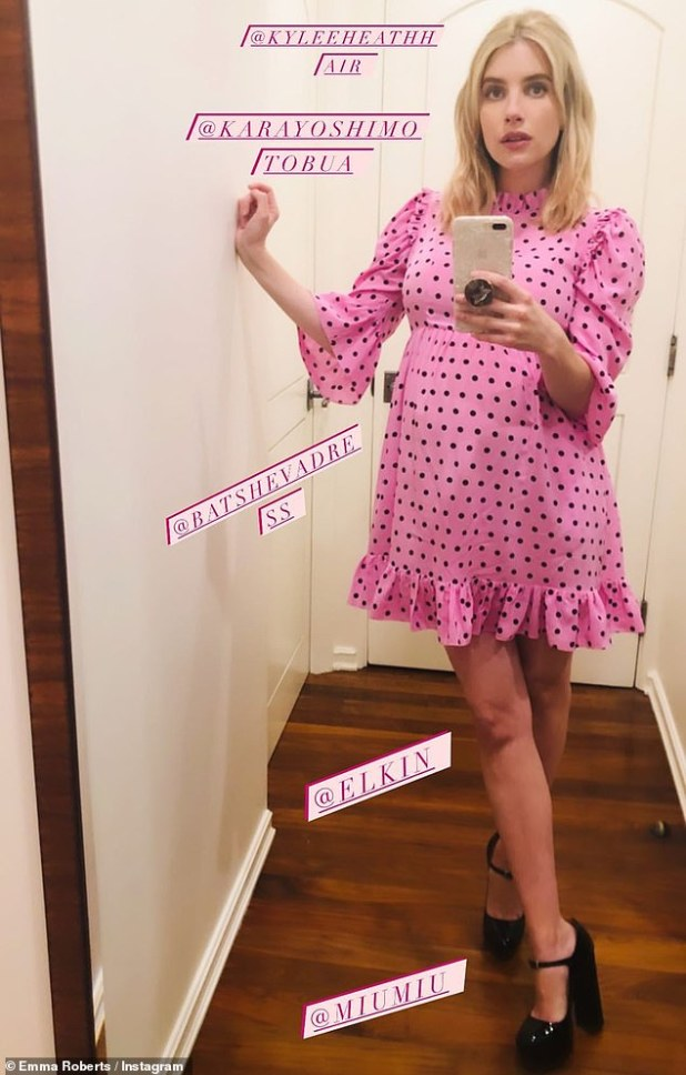 Look: Emma revealed on a photo that she was in a $ 450 spring prairie dress by Batsheva and her platform pumps were Miu Miu