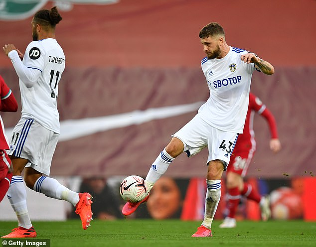 Mateusz Klich volleys in Leeds' third equaliser of the game midway through the second-half