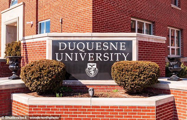 The man believed to be Shank is also heard telling the class people used to throw around the term 'n****r rich' when someone had some extra cash and asks students whether the term was still used today. Duquesne University (pictured) said Shank had been placed on paid leave